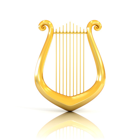 lyra: lyre 3d illustration isolated on white