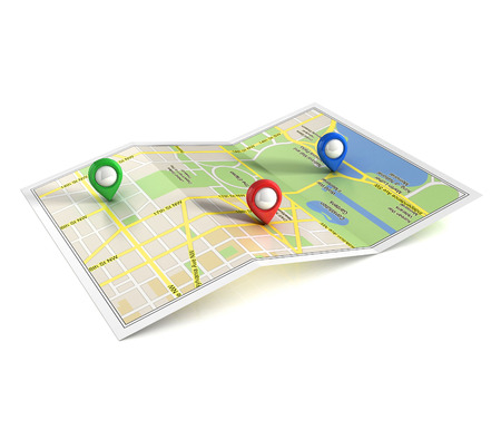 route map: city map with pointers 3d illustration