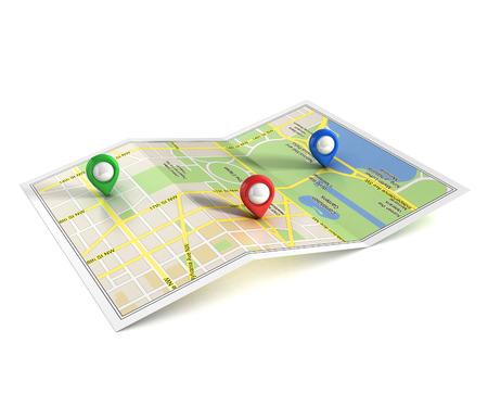 plattegrond van de stad met pointers 3D-afbeelding Stockfoto