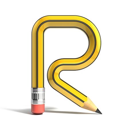 r: pencil 3d font letter r