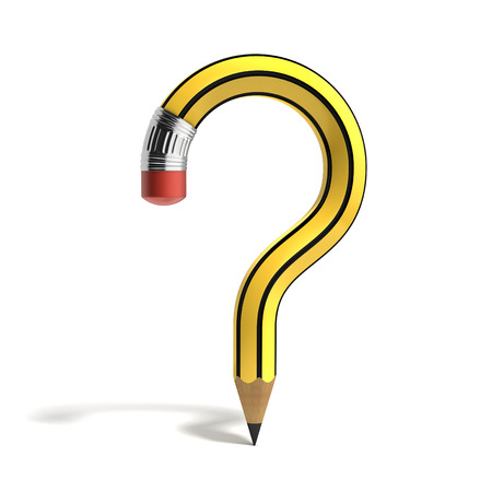 question: question mark pencil Stock Photo