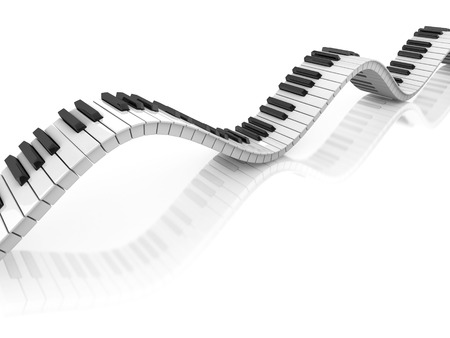 keyboard player: abstract piano keyboard wave