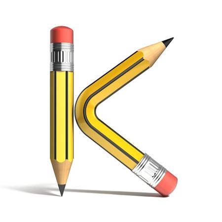 crayon 3d police lettre K
