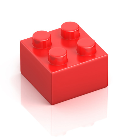 building block: single red building block isolated on white