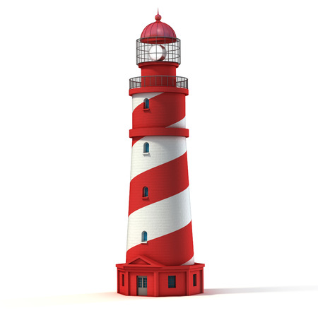 red and white: lighthouse isolated on white