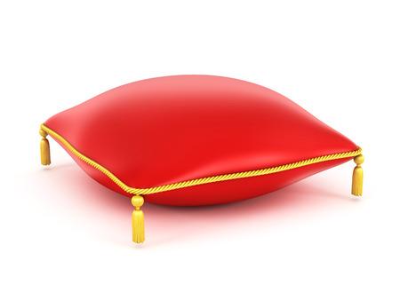 흰색 배경에 고립 된 왕실 빨간 벨벳 베개 스톡 콘텐츠