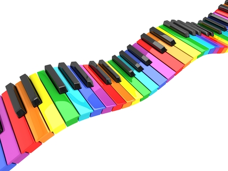 keyboard instrument: colorful piano keyboard wave Stock Photo