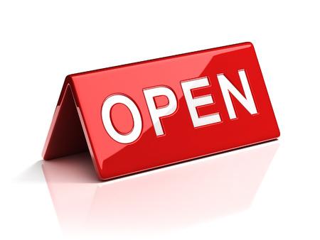 costumer: open desk sign Stock Photo