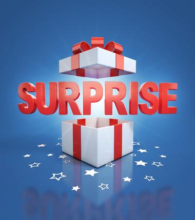 sorpresa: sorpresa en su interior caja de regalo sobre fondo azul Foto de archivo