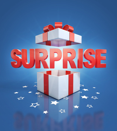 surprise box: surprise inside gift box on blue background