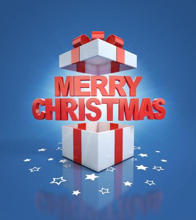 magic box: merry christmas letters inside gift box Stock Photo