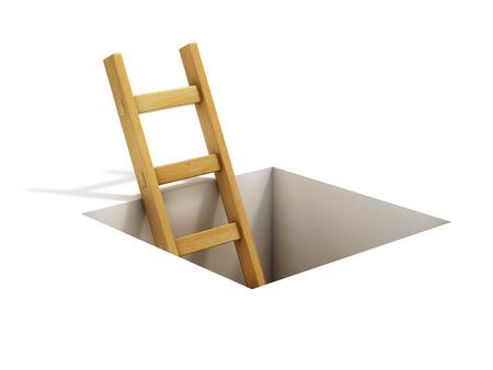 climbing: ladder inside rectangular hole