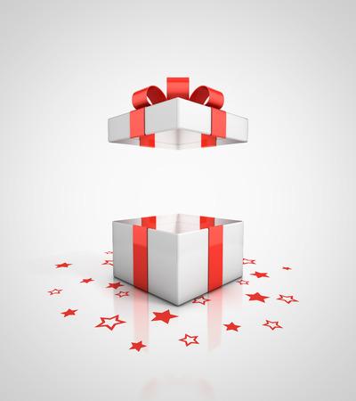 sorpresa: abrir la caja de regalo Foto de archivo