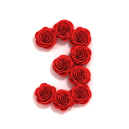 number 3: rose font number 3 Stock Photo