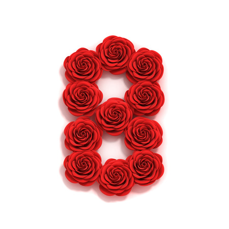 8 years birthday: rose font number 8 Stock Photo