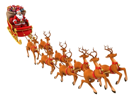 cartoon santa: Santa Claus rides reindeer sleigh on Christmas