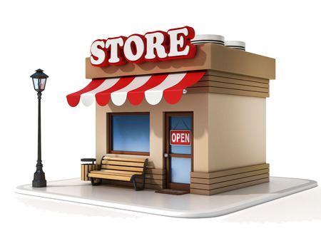 anuncio publicitario: tienda miniatura 3d ilustración