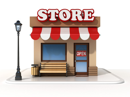 food shop: miniature store 3d illustration
