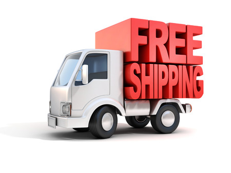 delivery: delivery van with free shipping letters on back