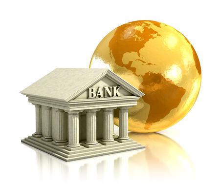 banco mundial: mundo 3d banco ilustraci�n Foto de archivo