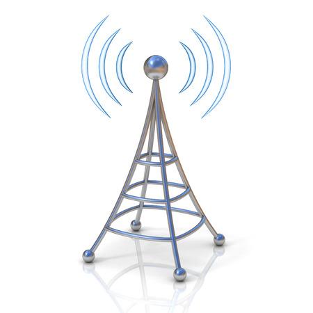 radio tower: wireless tower with radio waves