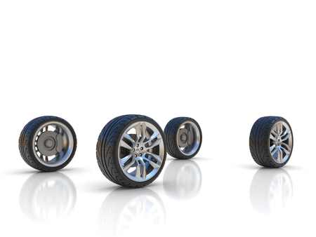 clean off: four car wheels Stock Photo