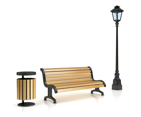 park bench, street lamp and trash can Stock Photo