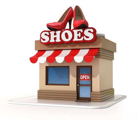 zapato: tienda de zapatos ilustración 3d Foto de archivo