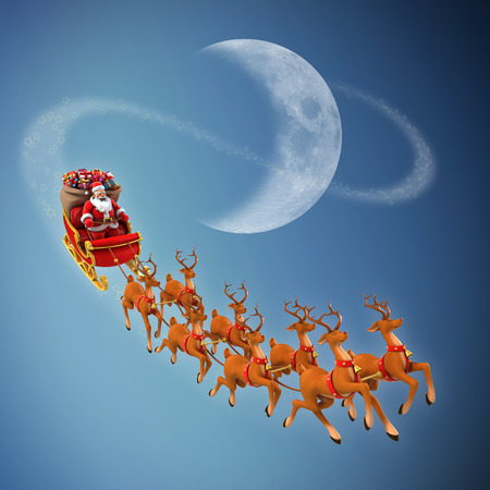 santa sack: Santa Claus rides reindeer sleigh on Christmas