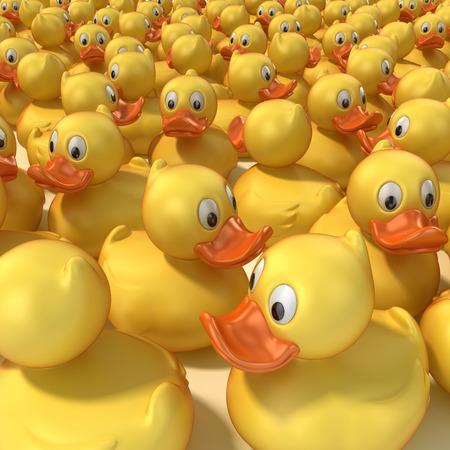squeak: rubber ducks 3d illustration