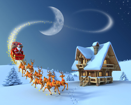 Christmas night scene - Santa Claus rides reindeer sleigh in front of the log house Stock Photo
