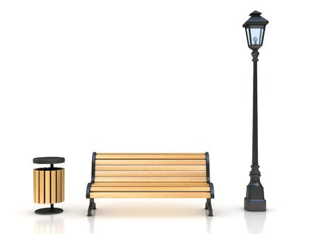 banc de parc: banc de parc, lampe de rue et poubelle Illustration 3D