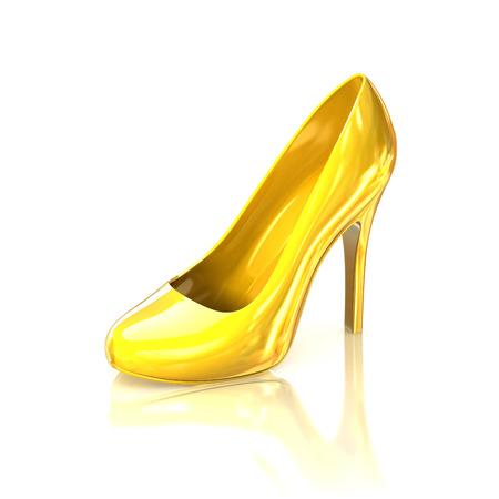 heels: golden high heel shoe