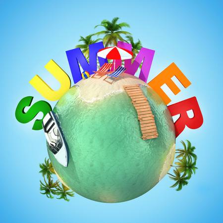 mini umbrella: summer mini planet - tropical scene