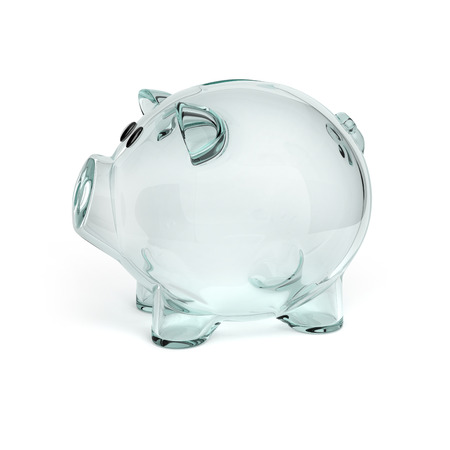 banco dinero: hucha de cristal aislado en el fondo blanco Foto de archivo