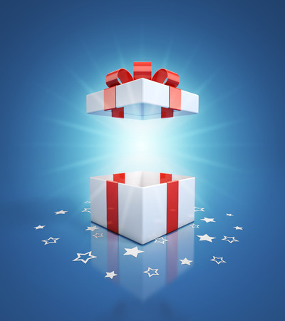 white boxes: open gift box on blue background