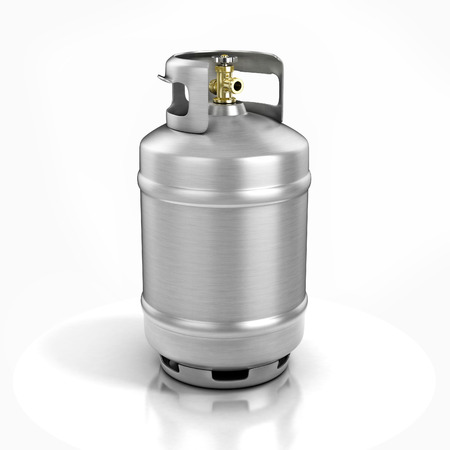 aluminium background: propane cylinder with compressed gas 3d illustration Stock Photo