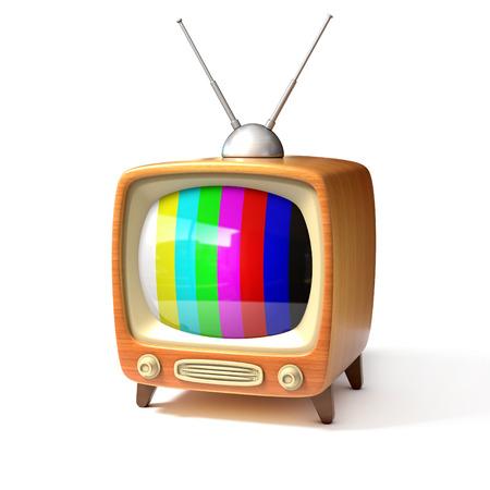television antigua: tv retro con barras de color de la pantalla 3d ilustración Foto de archivo