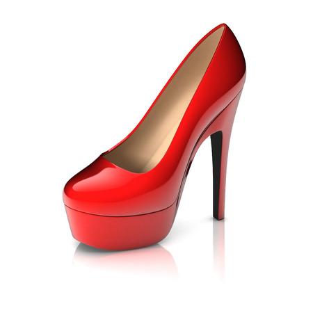 heels: red high heel shoe 3d