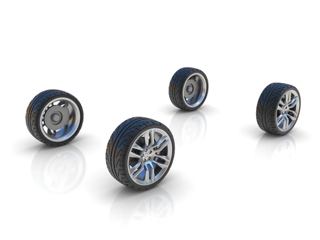 4 wheel: four car wheels Stock Photo