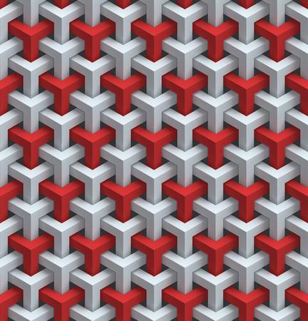 naadloze rode en witte muur panels 3d achtergrond Stockfoto