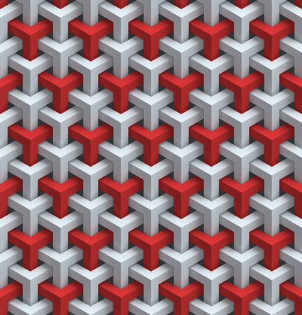 seamless red and white wall panels 3d background