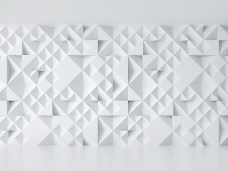 white wall with geometric 3d pattern