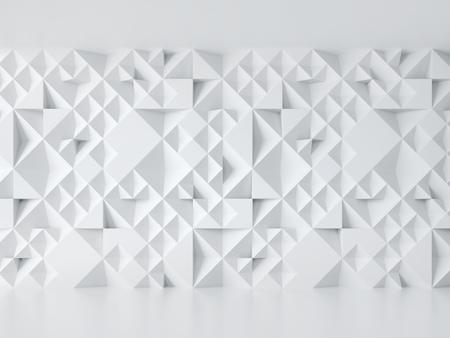 witte muur met geometrische 3d patroon