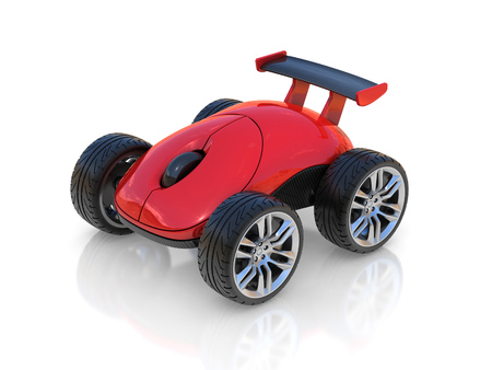 computer mouse on wheels 3d concept Stock Photo