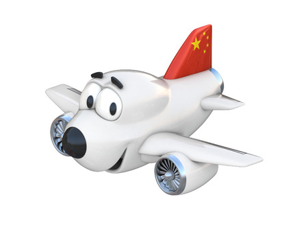 airway: Cartoon airplane with a smiling face - Chinese flag Stock Photo