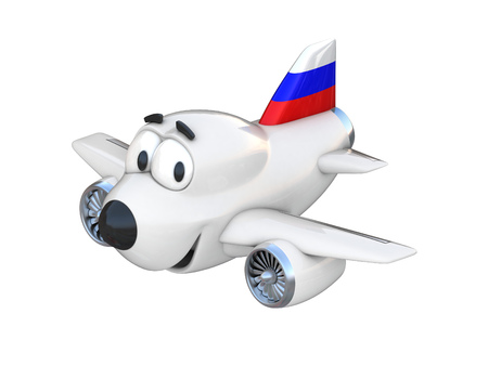 jet: Cartoon airplane with a smiling face - Russian flag