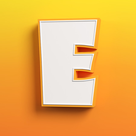 symbol: cartoon 3d font letter E