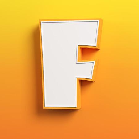character design: cartoon 3d font letter F