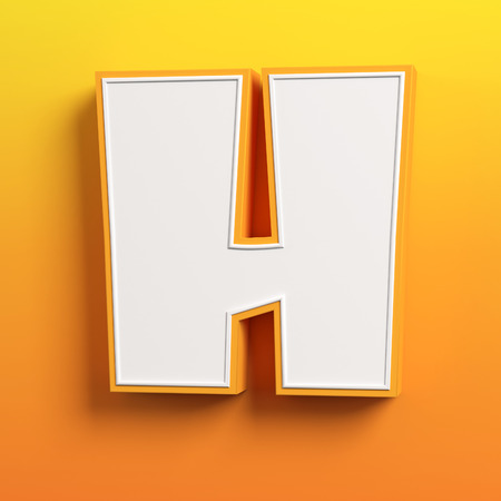 white letters: cartoon 3d font letter H Stock Photo